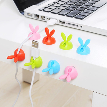 4pcs Rabbit Ear Silicone Desktop Winder Cable Organizer Cable Home Office Computer Headphone Bobbin Wires Holder
