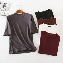 купить Fashion New Summer 100% Cotton O-Neck Plus Size T-Shirt Women Solid Half Sleeve T-Shirts Multicolor Loose T shirt Lady Tops D110 недорого