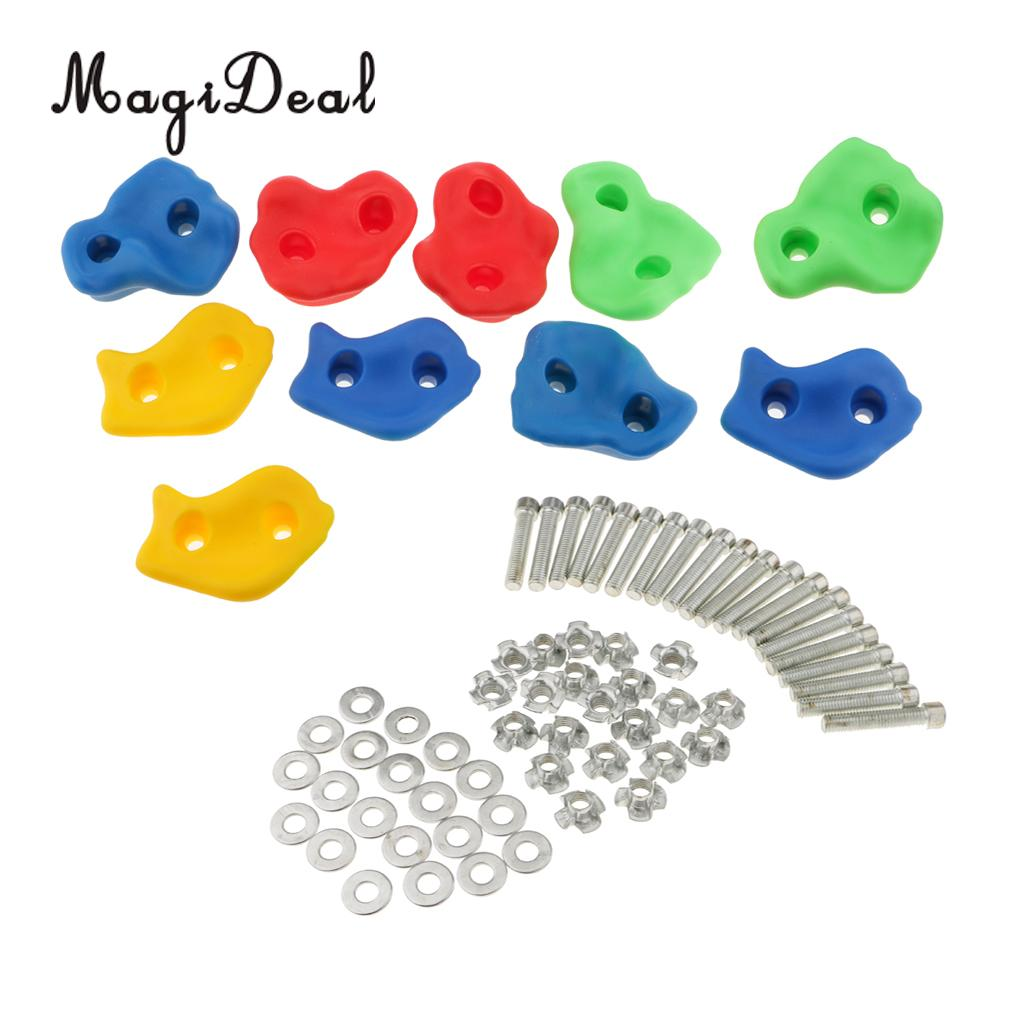 Sports & Entertainment 10pcs Plastic Children Kids Rock Climbing Wood Wall Stones Hand Feet Holds Grip Kits With Screw Random Color Fixing Prices According To Quality Of Products