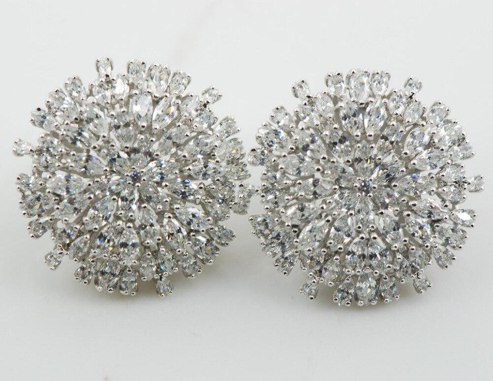 Shiny Multi White Crystal Zircon Women 925 Sterling Silver Stud Earrings AP22 perpetuum shiny 22 22 22