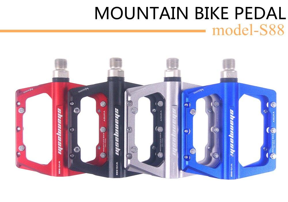 MTB Road Bike Aluminum Pedals 4 Sealed Bearings Flat Pedals 9/16 inch Platform Preservative Anti-skid