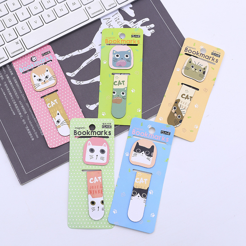 4 Pcs Magnetic Bookmark Cartoon Cat Book Mark Message Cards Bookmark For Books/Share/book Markers/tab For Books/stationery