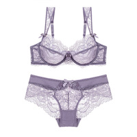 Lace Thin Bra Set Sexy Shoulder Bra Breathable Underwear Set Bra and Panty Set