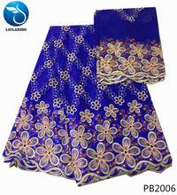 LIULANZHI Bazin Blue riche fabric high quality bazin getzner nigerian dress brode 5+2yards/lot wholesale cheap PB20