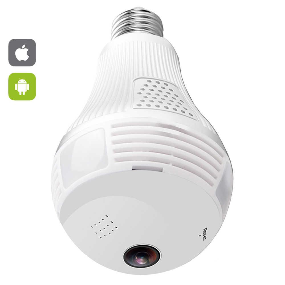 Wifi Toàn Cảnh Ống Kính Mắt Cá 360 Độ Camera IP Không Dây Bóng Đèn Led Mini Camera 1.3MP 3D VR 960P An Ninh Bóng Đèn camera Wifi Camera Quan Sát