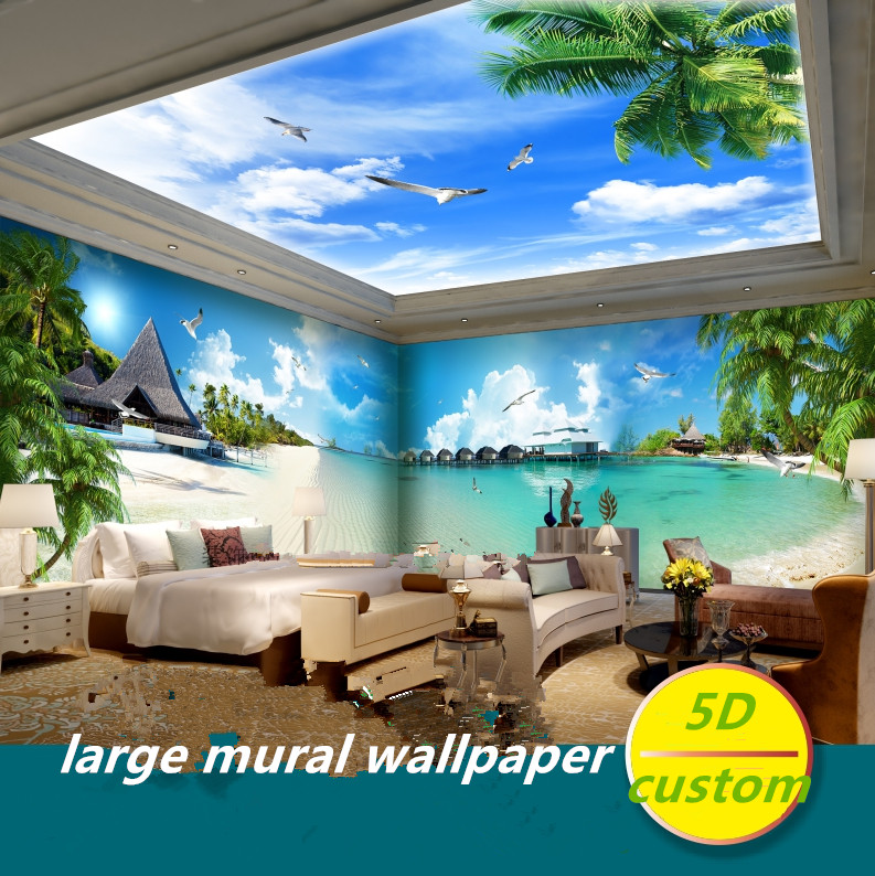 Custom 5D Silk Large Murals Wallpaper Seaside Seascape Beach Murals Coconut Trees Mediterranean Wallpaper Natural Landscape Back