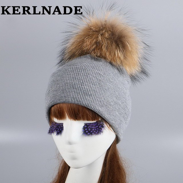 ae93a238e44 mink and fox fur ball cap pom poms winter hat for women girl  s wool ...