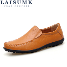 LAISUMK Men Casual Shoes Leather High Quality Comfortable Wild Summer Zapatos Hombre