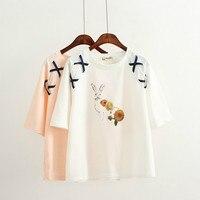 2018 Summer New Korean Harajuku Version Loose Bandages Rabbit T Shirt Women Round Neck Tees Hort