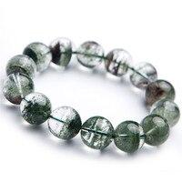 Drop Shipping Fine Jewelry Stretch Natural Green Phantom Crystal Quartz Bracelet Stone Bracelets Popular Round Beads 17mm