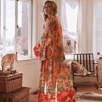 3d2b22eba4e 2019 Новый Для женщин шифон кимоно кардиган с цветочным принтом длинный  рукав ремень Повседневное Свободные Длинные