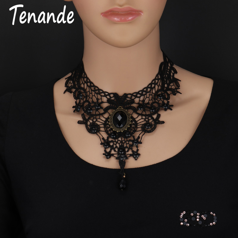 Tenande Sexy Big Statement Beads Flowers Water Droplets Crystal Necklaces & Pendants for Women Tattoo Palace Party Jewelry Gifts(China)