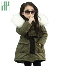 цена на HH baby girl clothes winter parka real fur collar coat toddler girls snowsuit kids Children Winter Outwear down and parka