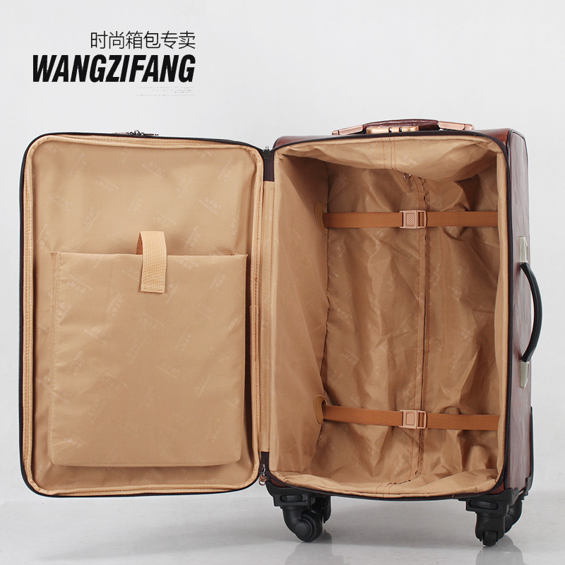 Women/Men PU Leather 20''/24''/26''Suitcase Cosmetic Handbag Set ...