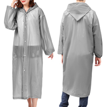 Transparent Raincoat Waterproof Ponchos Hooded Elastic-Cuffs Travel Outdoor Women Camping