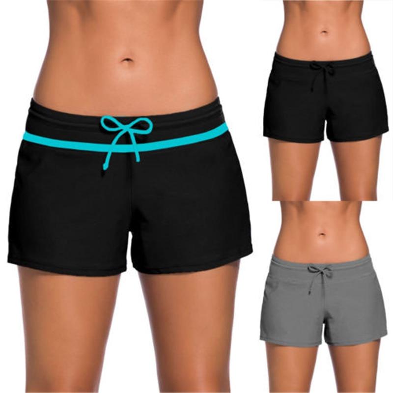 New Women's Surf Boardshorts Swim Board   Shorts   Sports Beach Plus Size Belt Tied Bowknot Solid Cloth Casual
