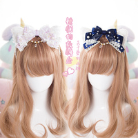 Tatlı lolita prenses hairpinb El Yapımı dantel yay saç kedi kulak Inci kristal firkete kafa LOLITA KC büyük yay headdress GSH006