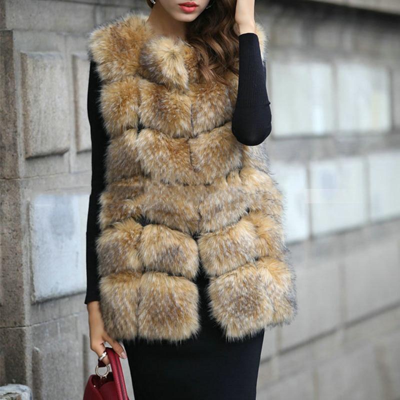 Kiváló minőségű szőrme mellény kabát luxus műfüves mosó - Női ruházat