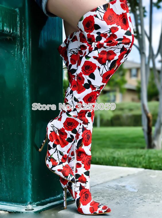 ALMUDENA Gorgeous Red Rose Flower Over-the-knee Long Boots Floral Printed Thin High Heel Dress Boots Women Pointed Toe BootsALMUDENA Gorgeous Red Rose Flower Over-the-knee Long Boots Floral Printed Thin High Heel Dress Boots Women Pointed Toe Boots