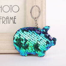 Cute Pig Keychain Glitter Pompom Sequins Key Chain Gifts for Women Llaveros Mujer Car Bag Accessories Key Ring Chaveiro(China)