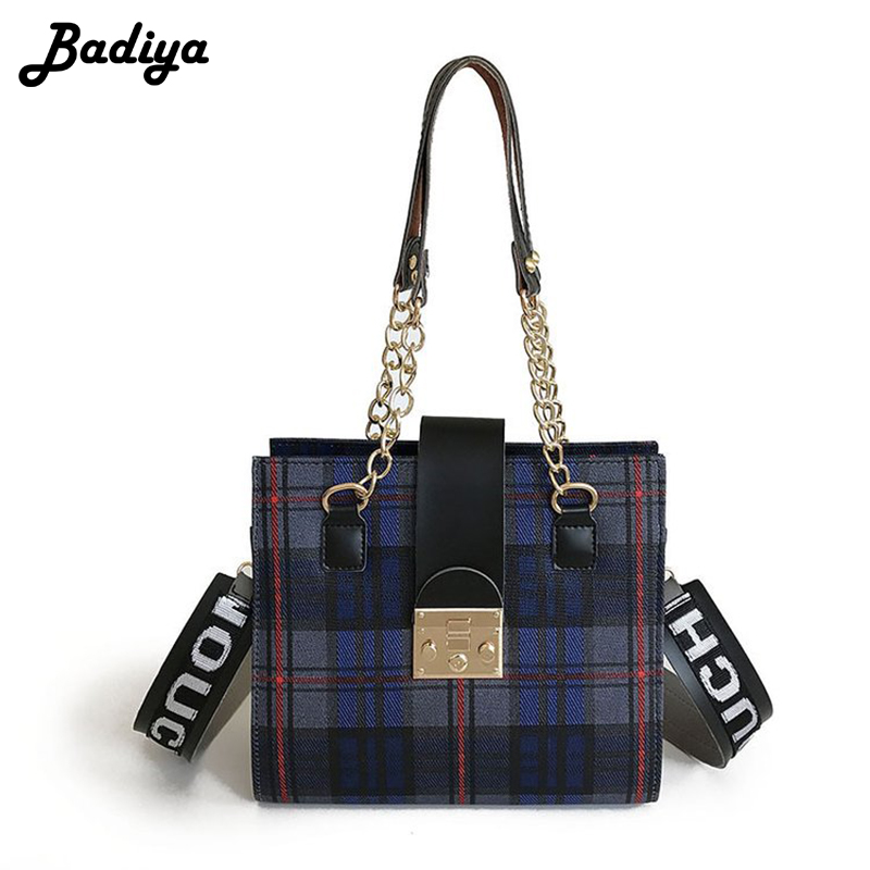 Fashion Women Plaid Crossbody Bag Wide Strap Shoulder Bag Large Capacity Leather Travel Daily Handbags