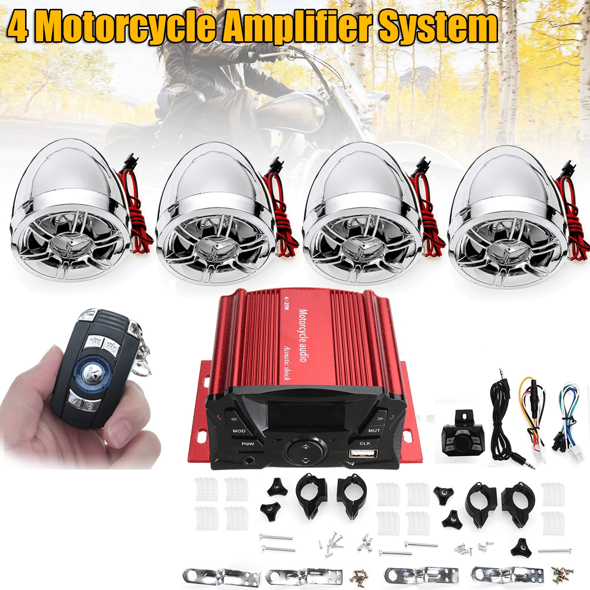 Universal Motorcycle Amplifier System Motorcycle Speaker Horns Motorcycle Audio Suit With USB Bluetooth Wireless Remote Control