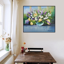 Purple and Yellow Flowers Oil Painting Print on Canvas Bonsai Poster Landscape Picture for Home Decoration Office Bedroom Gifts