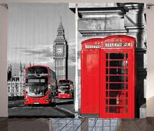 London Curtains Telephone Booth in The Street Traditional Local Cultural Icon England UK Retro Living Room Bedroom Window Drapes(China)