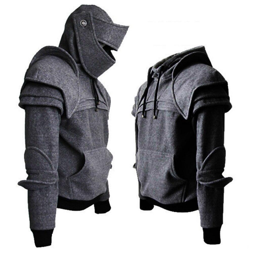 Win beauty Ретро Уличная Мужская толстовка для путешествий Одежда для Хэллоуина средневековый стиль косплей готический длинный рукав рыцарь Толстовка размера плюс - Цвет: gray