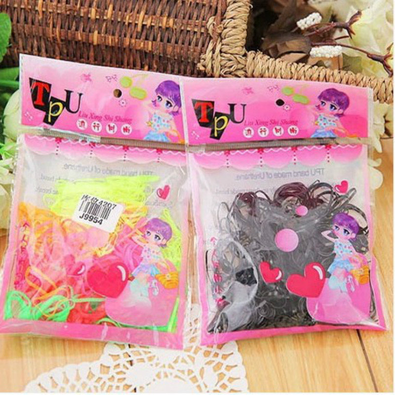 100pcs/pack Rubber Rope Ponytail Holder Hair Elastic Bands Ties Braids Plaits hair clip headband Hair Girls Accessories DZH0002