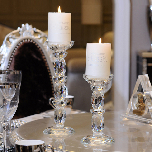 glass crystal candle holders stick column candle crystal candelabra tea light holder candlestick. Black Bedroom Furniture Sets. Home Design Ideas