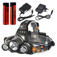 NEW Waterproof Headlight Led rechargeable 18650 headlamp 5000LM light head lamp 1T6+2R2 flashlight of fishing lantern head Torch