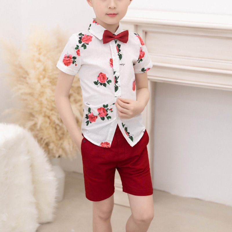 Casual-Shirts Boy Outfit Summer Clothes Printed Two-Piece with Belt YH-17 And