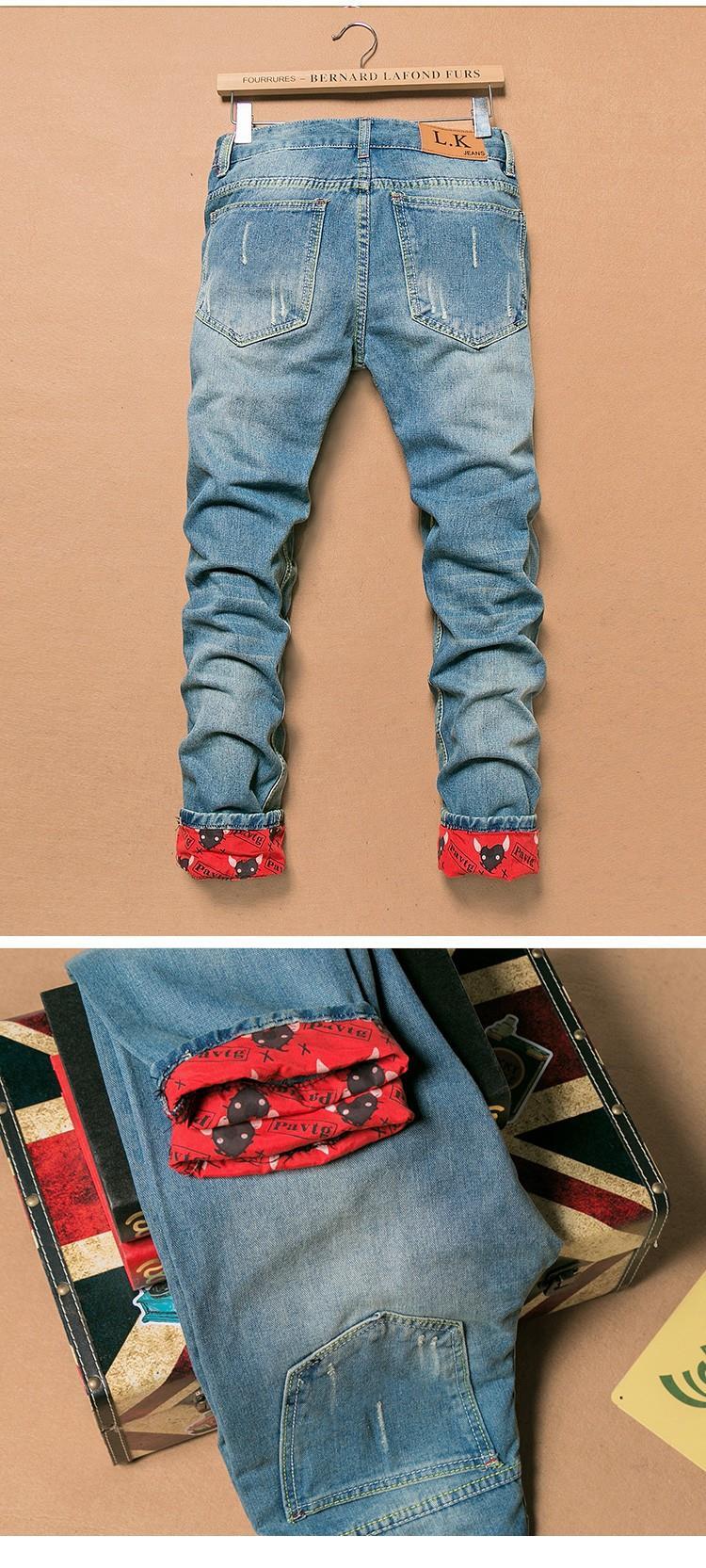 266234de16 2016 Apenada Vintage Ripped Jeans Hombres Delgados Rectos de los ...