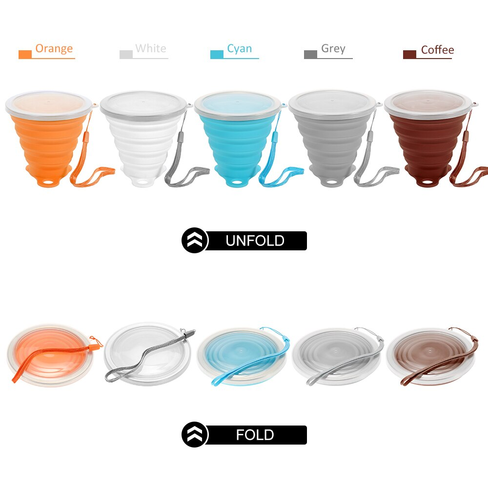 Silicone Folding Cup 270ML Foldable Folding Cup Travel Camping Sports Water Drinking Cup Telescopic Collapsible Tea Coffee Cups
