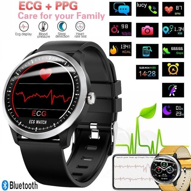 Reloj inteligente portátil ECG PPG electrocardiográfico Frecuencia Cardíaca presión arterial Monitor de salud Bluetooth rastreador de Fitness Smartwatch