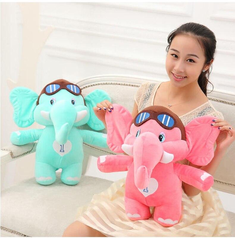 Environ 40 cm dessin animé éléphant en peluche jouet lunettes de soleil conception éléphant doux poupée jeter oreiller cadeau de noël s2573