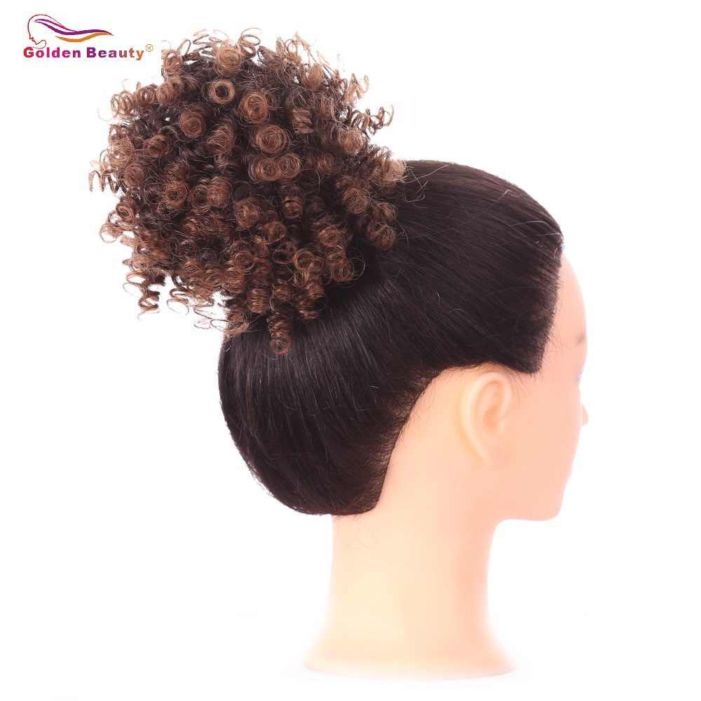 3 pulgadas alto Afro Puff cabello Chignon rizado Cola de Caballo cordón corto Cola de Caballo pelo sintético bollo dorado belleza