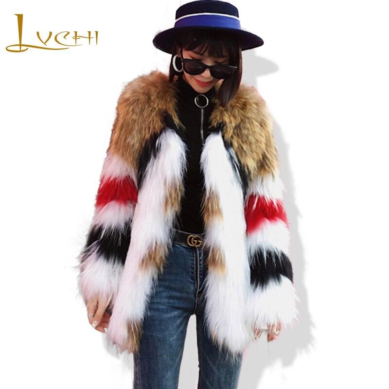 LVCHI 2019 Spring Imported Raccoon Dog Fur Coat Fur Coat Women's Contrast Color Medium Causal Slim V Neck Raccoon Dog Fur Coats