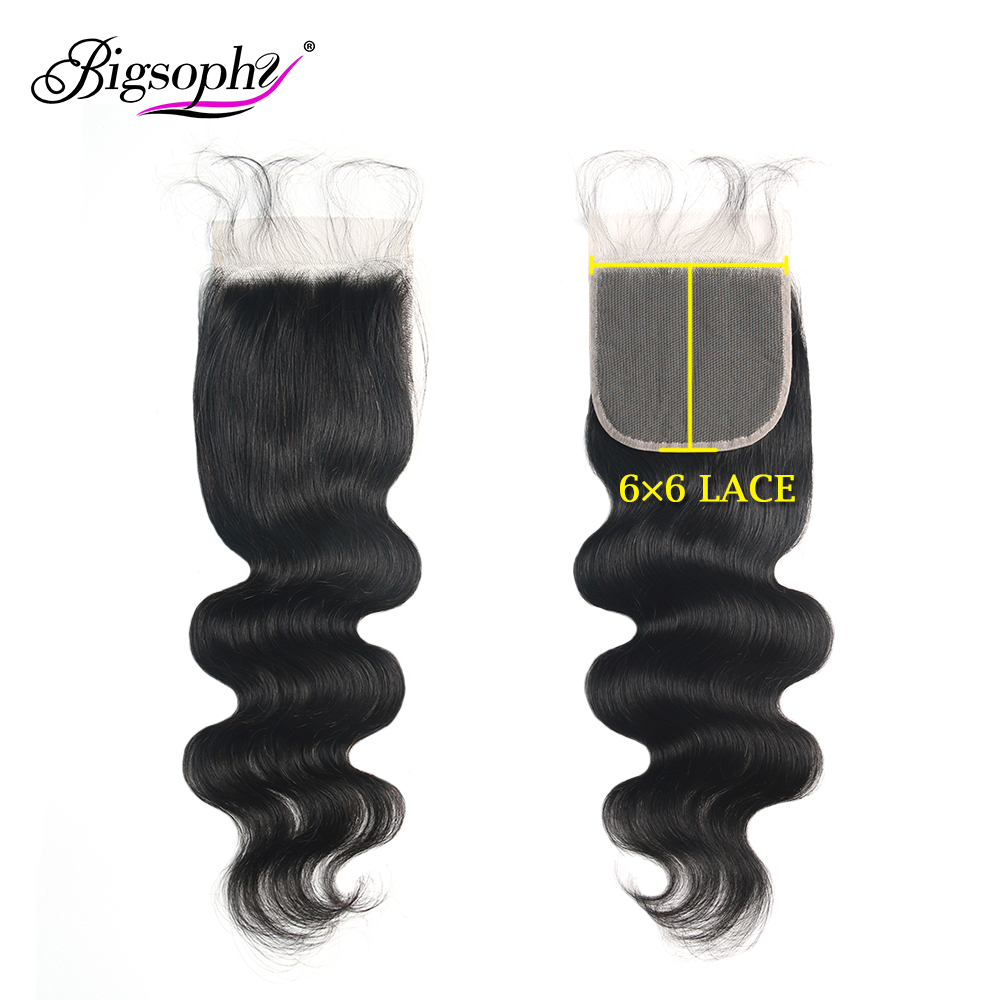 Bigsophy Brazilian Hair Body Wave 6x6 Lace Closure 100% Human Remy With Baby Swiss Natural Color 8-24inch