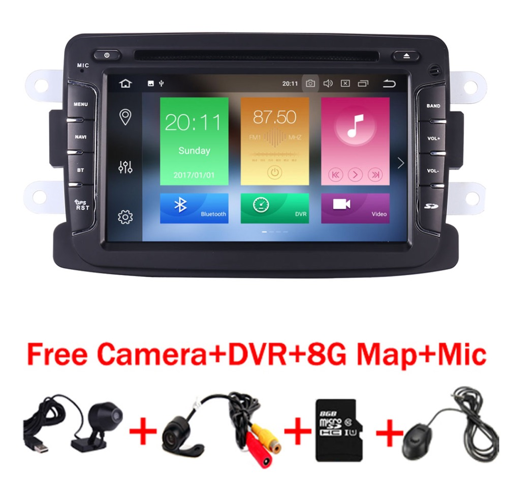 7 inch Android 8.0 Car DVD Player For Dacia Sandero Duster Renault Captur Lada Xray 2 Logan 2 RAM 3G WIFI GPS Navigation Radio android 7 1 1 car dvd player gps glonass navigation for renault dacia duster sandero lodgy dokker multimedia video radio stereo