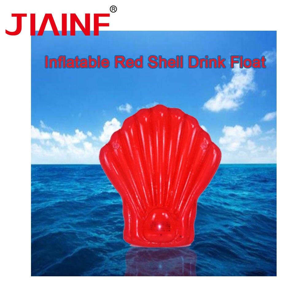 JIAINF Gonflable coquille Rouge boissons flotteur Rangée natation flotteur 1.65*1.5m support de verre soirée jouets eau matelas pour boissons tasses