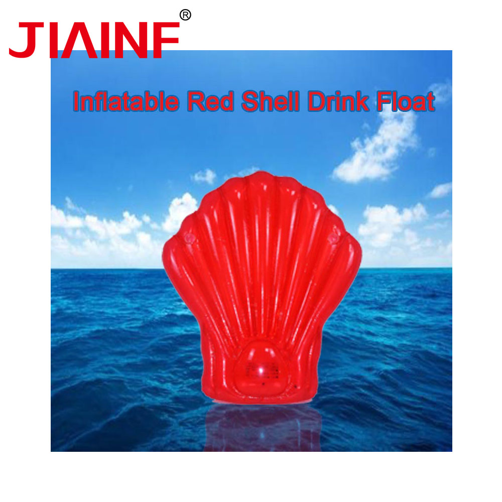 JIAINF Inflatable Red Shell Drinks Float Row Swimming Float 1.65*1.5m Cup Holder Party Toys Water Mattress For Drinks Cups