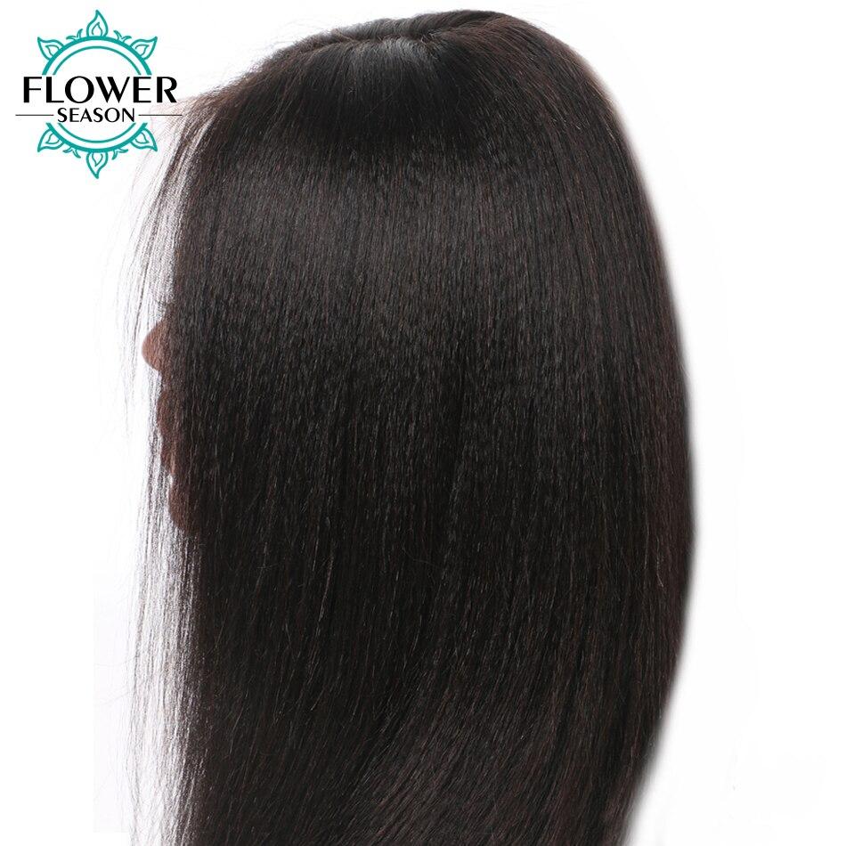 FlowerSeason Яки прямой парик 13*6 глубокий прощание Синтетические волосы на кружеве человеческих волос парики с ребенком волос отбеленные узлы Ма...