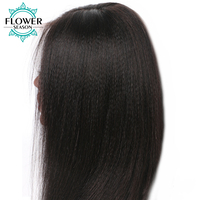 FlowerSeason Yaki Straight Wig 13*6 Deep Parting Lace Front Human Hair Wigs With Baby Hair Bleached Knots Malaysian Remy Hair