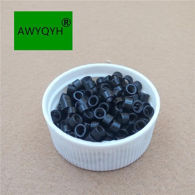 10000 sztuk 4mm 4.0mm Aluminium do przedłużania włosów mikro pierścienie mikrolinki koraliki linki ze śrubami 1 # czarny