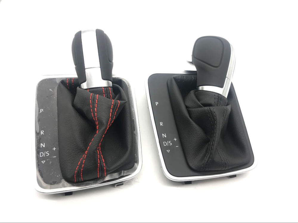 CHESHUNZAI DSG Gear Shift knob Cover leather black Black stitch or red stitch for Golf 7