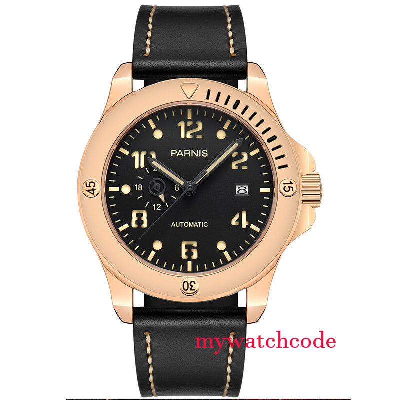 43mm parnis black dial 316 steel case sapphire glass miyota automatic mens watch цена
