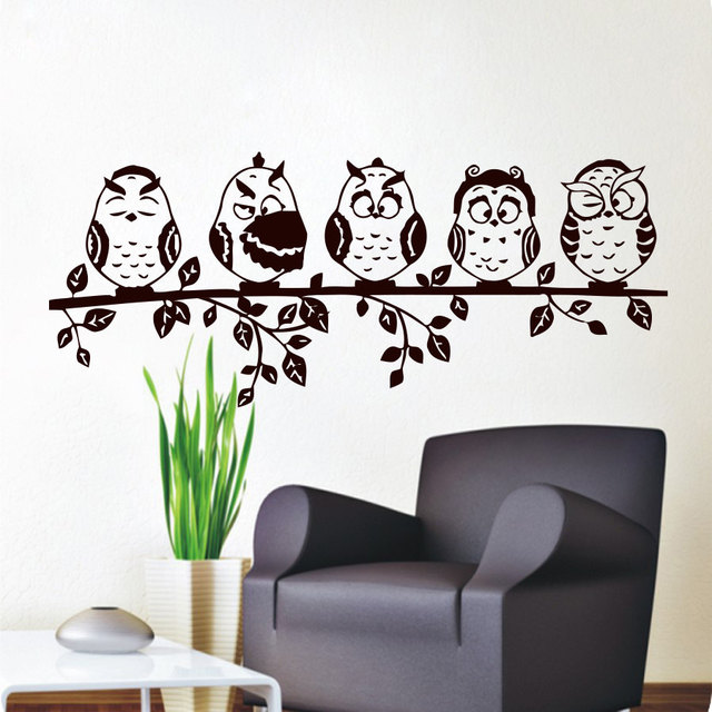 Five Coffee Baby Owl Wall Decal PVC Waterproof Hollow Out Home Decor Living  Room Wall Sticker