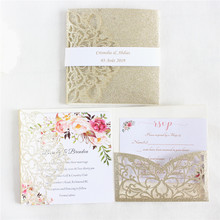 Luxury invitations for wedding with belly band envelop glittery gold paper personalized printing 50 sets